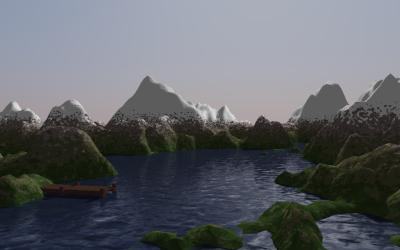 Rendering of a mountain range